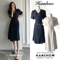 Dress Summer 2020 Dark blue, beige S,M,L,XL Mid length dress singleton  Short sleeve commute V-neck High waist Solid color Three buttons A-line skirt routine 18-24 years old Type A Other / other Korean version Lace up, button 335#