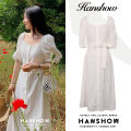 Dress Summer 2020 ivory S,M,L,XL Mid length dress singleton  Short sleeve commute square neck High waist Solid color Single breasted A-line skirt puff sleeve 18-24 years old Korean version Bandage 51% (inclusive) - 70% (inclusive) cotton