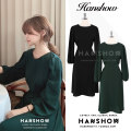 Dress Autumn of 2019 Dark green, black S,M,L Mid length dress singleton  Long sleeves commute Crew neck High waist Solid color A-line skirt puff sleeve Others 18-24 years old Other / other Korean version 81% (inclusive) - 90% (inclusive)