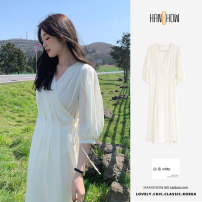 Dress Summer 2021 white S,M,L,XL longuette Short sleeve commute V-neck High waist Solid color A-line skirt puff sleeve 25-29 years old Korean version Frenulum 51% (inclusive) - 70% (inclusive) Chiffon other