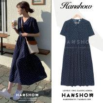 Dress Summer 2020 navy blue S,M,L,XL longuette singleton  Short sleeve commute V-neck High waist Dot zipper A-line skirt routine 18-24 years old Type A Korean version bow