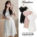 Dress Summer 2020 White, pink, black S,M,L,XL Mid length dress singleton  Short sleeve commute Crew neck High waist Solid color Socket A-line skirt Flying sleeve 18-24 years old Type A Korean version Embroidery, crochet, hollow out, zipper