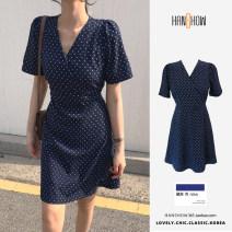 Dress Summer 2021 Navy Blue S,M,L,XL Short skirt singleton  V-neck High waist Dot A-line skirt routine 18-24 years old Type A 81% (inclusive) - 90% (inclusive)
