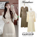 Dress Autumn 2020 Apricot, Khaki S,M,L Mid length dress singleton  Long sleeves commute V-neck High waist Solid color Single breasted A-line skirt puff sleeve Others 18-24 years old Type A Korean version Button 330#