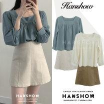 Fashion suit Autumn 2020 S,M,L,XL Blue shirt, apricot shirt, apricot skirt, coffee skirt 18-25 years old Other / other 332 shirt + 192 skirt
