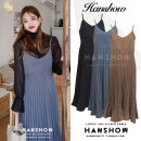 Dress Spring 2020 Blue, black, brown S,M,L,XL Mid length dress Sleeveless commute V-neck High waist Solid color Pleated skirt routine camisole 25-29 years old Type A Korean version fold Chiffon