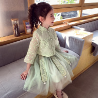 Dress Green, pink female Mimihello 100cm,110cm,120cm,130cm,140cm,150cm,160cm Other 100% spring and autumn Chinese style Long sleeves other other other Class B Three, four, five, six, seven, eight, nine, ten, eleven, twelve
