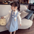 suit Mimihello blue 90cm,100cm,110cm,120cm,130cm,140cm,150cm female spring and autumn Korean version Long sleeve + skirt 3 pieces routine There are models in the real shooting Single breasted nothing Solid color cotton children Giving presents at school THC21067 Class B Other 100% Chinese Mainland