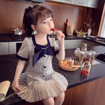 Dress black female Mimihello 90cm,100cm,110cm,120cm,130cm,140cm,150cm Other 100% summer Korean version Short sleeve lattice other Pleats Class B 2, 3, 4, 5, 6, 7, 8, 9, 10, 11 Chinese Mainland