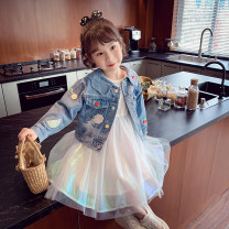 suit Mimihello blue 80cm,90cm,100cm,110cm,120cm,130cm,140cm female spring and autumn Korean version Long sleeve + skirt 2 pieces routine There are models in the real shooting Single breasted nothing Solid color other children Giving presents at school TQ2110051 Class B Other 100% Chinese Mainland