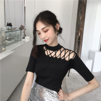 T-shirt Apricot black blue Average size Summer of 2019 Short sleeve Crew neck Self cultivation have cash less than that is registered in the accounts routine commute Viscose 51% (inclusive) - 70% (inclusive) 25-29 years old Korean version youth Solid color Looking for Jie Lace up strap hollowed out