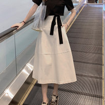 skirt Summer of 2019 S M L Apricot Mid length dress commute High waist Umbrella skirt Solid color Type A 25-29 years old HKK-3866 Looking for Jie Pocket button zipper Korean version Pure e-commerce (online only)