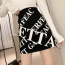 skirt Autumn of 2019 S M L black Short skirt commute High waist A-line skirt letter Type A 18-24 years old More than 95% Looking for Jie polyester fiber printing Korean version Polyester 100% Pure e-commerce (online only)