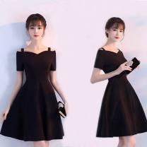 Dress Autumn of 2019 Black 899# S [65jin-85jin], m [85jin-100jin], l [100jin-115jin], XL [115jin-125jin], 2XL [125jin-145jin] Mid length dress singleton  Short sleeve Chisoff Solid color