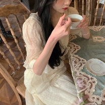 Dress Spring 2021 S, M Mid length dress Three piece set Short sleeve Sweet other High waist Solid color Socket Princess Dress Princess sleeve Others 18-24 years old Type A Hi, meat 30% and below organza  polyester fiber princess