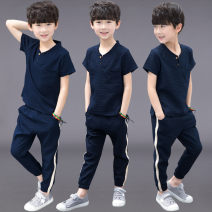 suit Serenity of Xiao Li Black, Navy, light blue, white, gray, army green, orange, brilliant green, bean green, grass green 120cm,130cm,170cm,140cm,150cm,160cm male summer leisure time Short sleeve + pants 2 pieces routine There are models in the real shooting Socket nothing other children B170312