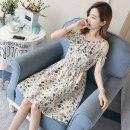 Nursing clothes Khaki, white M,L,XL,2XL Other / other Socket summer Sleeveless Medium length Korean version Dress Plants and flowers Lift up Chiffon