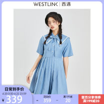 Dress Summer 2021 blue S M L XL Short skirt singleton  Short sleeve commute Admiral Solid color Socket Pleated skirt routine 25-29 years old Type A Westlink / Xiyu lady Pleating 71% (inclusive) - 80% (inclusive) polyester fiber Polyester 80% viscose 20%