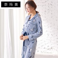 Nightdress Namao XXL L M XXXL XL Sweet Long sleeves pajamas Middle-skirt spring stripe youth Small lapel cotton printing More than 95% pure cotton 88048# Autumn of 2018 Cotton 100.00% Pure e-commerce (online only) Cotton 100.00%