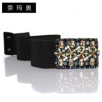 Belt / belt / chain Pu (artificial leather) Black (middle 5.8) lengthening 74cm black (width 7.4) lengthening 74cm black (middle 5.8) general length 62cm black (width 7.4) general length 62cm female Waistband literature Single loop Middle aged youth Smooth button Diamond inlay soft surface 7.4cm 1cm