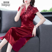 Dress Summer 2021 claret M L XL 2XL 3XL 4XL Mid length dress singleton  Short sleeve commute V-neck High waist Decor Socket A-line skirt routine Others 40-49 years old Type A European clothes Korean version Embroidery 31% (inclusive) - 50% (inclusive) other silk Silk 50% other 50%
