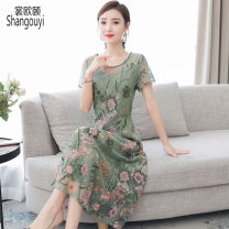 Dress Summer 2021 Light green M L XL 2XL 3XL 4XL Mid length dress singleton  Short sleeve commute Crew neck middle-waisted Decor Socket A-line skirt routine Others 40-49 years old Type A European clothes Korean version Embroidery NRJ-2F-B29A-2141-1 More than 95% other other Other 100%