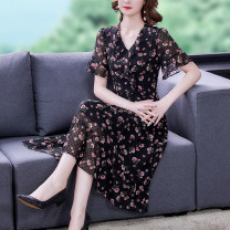 Dress Summer 2021 Pink flower on black background L XL 2XL 3XL 4XL 5XL Mid length dress singleton  Short sleeve commute V-neck High waist Decor zipper A-line skirt other Others 40-49 years old Type A European clothes Korean version NRJ-2F-A08D1-6586 More than 95% Chiffon other Other 100%