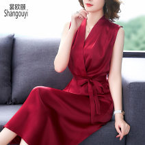 Women's large Summer 2021 Red and black Dress singleton  commute Self cultivation Socket Sleeveless Solid color Korean version V-neck Medium length other European clothes 35-39 years old Three dimensional decoration 51% (inclusive) - 70% (inclusive) longuette Pure e-commerce (online only) other