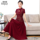 Dress Summer 2021 claret M L XL 2XL 3XL 4XL Mid length dress singleton  Short sleeve commute stand collar High waist Decor Socket Big swing routine Others 40-49 years old Type A European clothes Korean version Embroidery NRJ-2F-B29C1-7348 More than 95% other other Other 100%