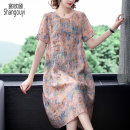 Women's large Summer 2021 Ash powder Large m large L Large XL Large 2XL Dress singleton  commute easy moderate Socket Short sleeve Decor Korean version Crew neck Medium length other routine European clothes 40-49 years old Three dimensional decoration Medium length Ramie 50% other 50% other