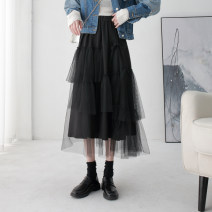 skirt Winter of 2019 Average size black Mid length dress commute High waist Cake skirt Solid color Type A 18-24 years old More than 95% Kou Yanbin polyester fiber Korean version Polyester 100% Pure e-commerce (online only)