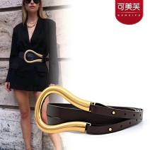 Belt / belt / chain Double skin leather Brown, black female belt Versatile Single loop Youth, youth, middle age Smooth button letter Glossy surface alloy alone Kemev