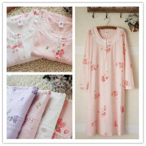 Nightdress Blissful Madam Orange flowers, white flowers, fresh and broken flowers, purple fresh and broken flowers, pale blue geometric, cherry blossoms, double peach hearts, purple double peach hearts, cherry blossoms. Simplicity Long sleeves pajamas Middle-skirt Plants and flowers Crew neck cotton