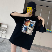 Women's large Spring 2021 black S M L XL T-shirt singleton  commute easy moderate Socket Short sleeve character Korean version Crew neck Medium length cotton routine Book is not 18-24 years old Other 100% Pure e-commerce (online only)
