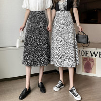 skirt Spring 2021 S M L XL Black and white Mid length dress commute High waist A-line skirt Leopard Print Type A 18-24 years old 360225DM9683 More than 95% Chiffon Point man other Zipper printing Korean version Other 100% Pure e-commerce (online only)