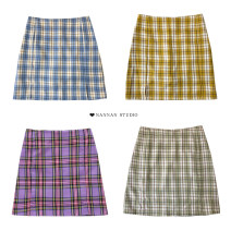 skirt Summer 2021 S,M,L Black check (pants version), yellow check (pants version), blue check (pants version), purple check (pants version), red check (pants version), green check (pants version) Short skirt Retro High waist A-line skirt lattice Type A 18-24 years old Purple foam
