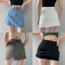 skirt Summer 2021 XS,S,M,L,XL Light blue, gray, black, white Short skirt street High waist skirt Solid color Type A 18-24 years old Europe and America