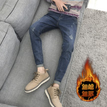 Jeans Youth fashion Corning 28 29 30 31 32 33 34 36 38 303 blue [regular] 303 blue [velvet thickening] routine Micro bomb Regular denim fifty-three thousand one hundred and ninety-two trousers Other 100% autumn Medium low back Slim feet tide 2019 Little straight foot zipper washing Five bags