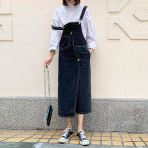 Dress Spring 2021 black XS,S,M longuette singleton  Sleeveless commute square neck Loose waist Solid color other Irregular skirt other camisole 18-24 years old Type A Korean version Pocket, stitching, strap B103DDQ 81% (inclusive) - 90% (inclusive) Denim cotton