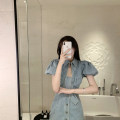 Dress Summer 2020 wathet S M L Short skirt singleton  Short sleeve commute other High waist Solid color Single breasted A-line skirt puff sleeve Others 25-29 years old Type H Retro More than 95% other other Other 100% Pure e-commerce (online only)
