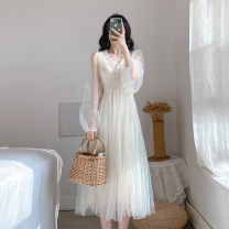 Dress Spring 2020 Apricot color, pay attention to shops and give small gifts XS,S,M,L,XL Mid length dress Two piece set Long sleeves commute V-neck High waist Solid color zipper Big swing puff sleeve Others 25-29 years old Type A Korean version polyester fiber