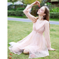 Dress Spring of 2019 Pink XS S M L XL Mid length dress singleton  Long sleeves commute Crew neck High waist Solid color zipper Big swing pagoda sleeve Others 25-29 years old Type X ZK lady Cut out stitching lace Q790108238 More than 95% polyester fiber Polyester 100% Pure e-commerce (online only)
