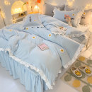 Bedding Set / four piece set / multi piece set cotton Embroidery, quilting Solid color 133x72 Mr. Ju cotton 4 pieces 40 Bean paste, light pink, light yellow, light gray, light blue, light green Sheet type, fitted sheet type, bed skirt type 95% (inclusive) - 100% (exclusive) cotton