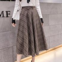 skirt Summer 2021 S,M,L,XL Gray, Khaki longuette commute High waist Umbrella skirt lattice Type A 25-29 years old 9241 in stock Korean version