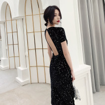 Dress / evening wear Weddings, adulthood parties, company annual meetings, daily appointments XS S M L XL XXL Classic dark blue Korean version Medium length middle-waisted Summer of 2019 fish tail U-neck zipper 18-25 years old LJ19LF18 Solid color Lanju Polyester 100% Pure e-commerce (online only)