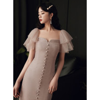 Dress / evening wear Weddings, adulthood parties, company annual meetings, daily appointments S M L Light pink Sweet Medium length middle-waisted Summer 2020 Self cultivation One shoulder zipper 18-25 years old Short sleeve Solid color Lanju Flying sleeve Polyester 100% Pure e-commerce (online only)