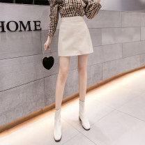 skirt Autumn 2020 S M L XL Black blue purple Khaki apricot Short skirt commute High waist A-line skirt Solid color Type A 25-29 years old a-367 More than 95% other AI Fanzhe other zipper Korean version PU Exclusive payment of tmall