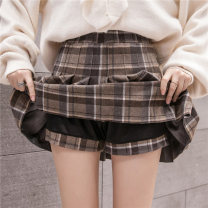 skirt Autumn of 2018 S M L XL Short skirt Versatile High waist Pleated skirt lattice Type A 25-29 years old XYG6017 Wool AI Fanzhe Pure e-commerce (online only)