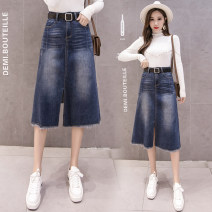 skirt Spring 2021 S,M,L,XL,2XL blue Mid length dress commute High waist A-line skirt Type A 18-24 years old 81% (inclusive) - 90% (inclusive) Denim Other / other cotton Fringes, rags, buttons Korean version