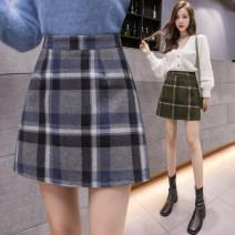 skirt Winter 2020 S,M,L,XL,2XL Grey, green Short skirt commute High waist A-line skirt lattice Type A 25-29 years old 81% (inclusive) - 90% (inclusive) Wool zipper Korean version